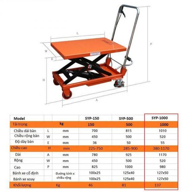 Xe nâng mặt bàn 1000kg Ssangyong
