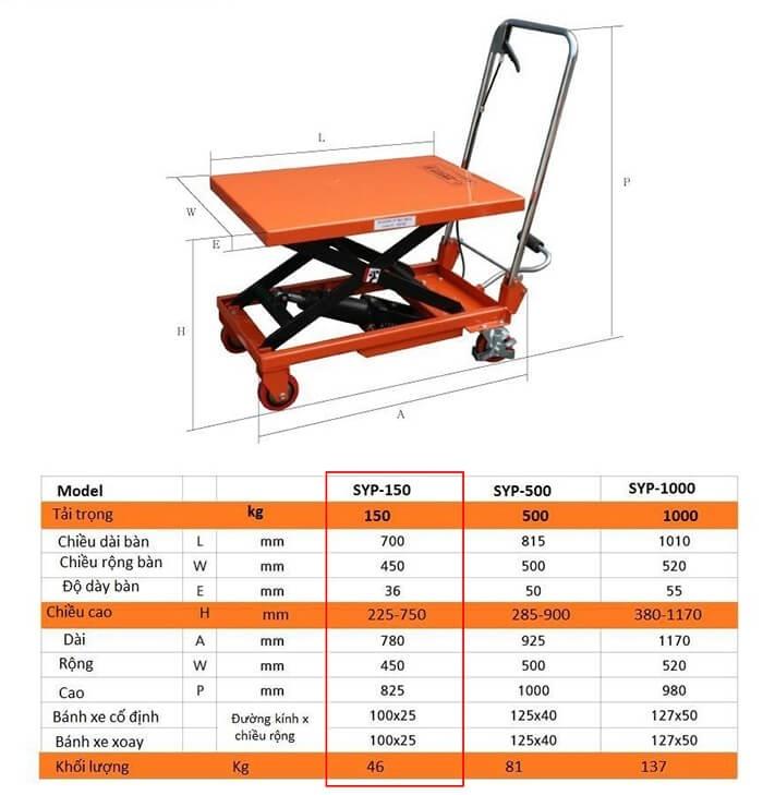 Xe nâng mặt bàn 150kg Ssangyong 2