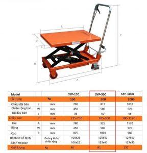 Kích thước các loại bàn nâng 500kg